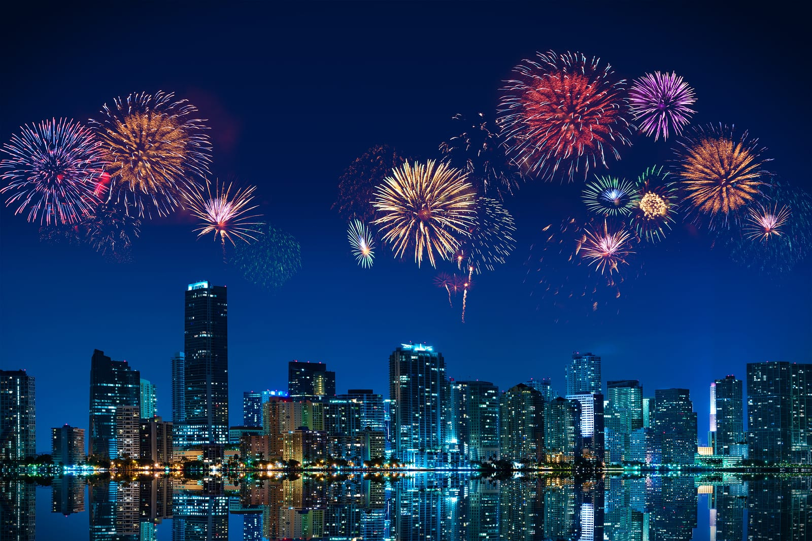 The incredible New Year fireworks display over the skyline of downtown Miami.